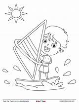 Coloring Boat Sailing Kid Serfer Sheet Sail Cartoon Motor Kidzezone Pdf Kolorowanka sketch template