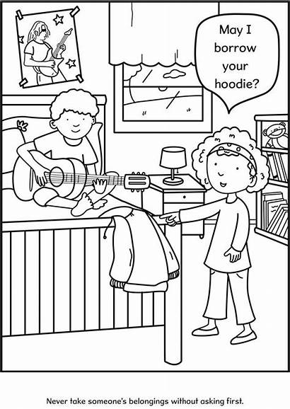 Coloring Pages Manners Colouring Respect Etiquette Values