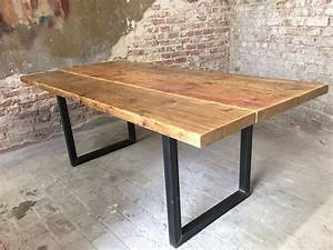 Tisch Aus Holz : esstisch aus ger stbohlen holztisch k chentisch upcycle industrial and industrial furniture ~ Watch28wear.com Haus und Dekorationen