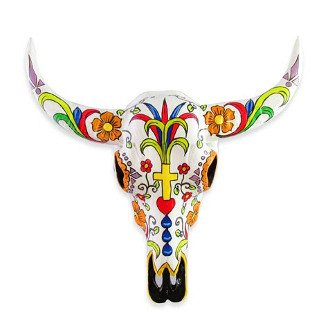 28cm hand painted cow skull wall art made of resin sugar