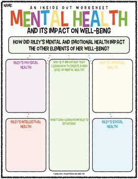 Mental Health, Inside Out And Worksheets On Pinterest