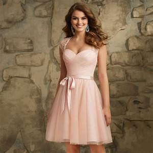 Robe Demoiselle D Honneur : cap sleeves lace belt plus size knee length bridesmaid ~ Melissatoandfro.com Idées de Décoration