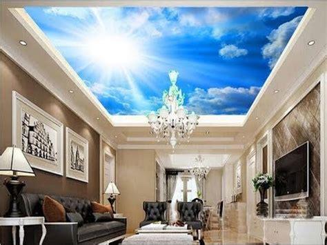 desain wallpaper plafon ruang keluarga motif awan youtube