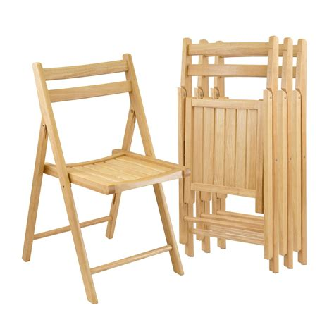 Amazoncom  Winsome Wood Folding Chairs, Natural Finish