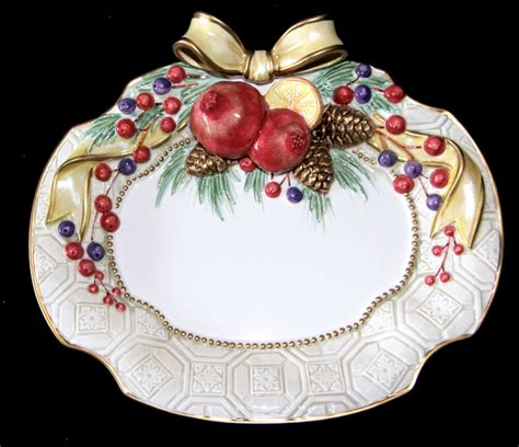 fitz  floyd ceramic winter spice christmas fruit