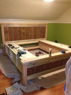 diy bed  storage cubbies  drawers lake house diy