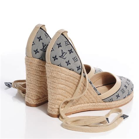 louis vuitton mini monogram espadrille wedge heels  blue