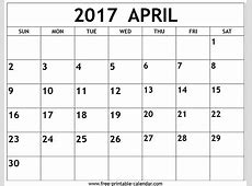 April 2017 Calendar monthly calendar 2017