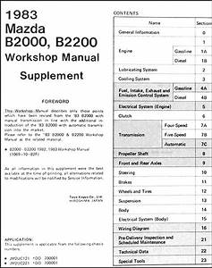 1983 Mazda B2000 B2200 Repair Shop Manual Supplement