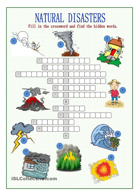 natural disasters crossword puzzle desastres naturales