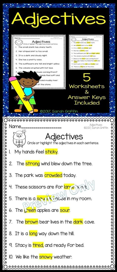 noun verb adjective worksheet  worksheet