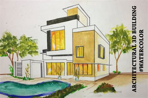 architectural  building drawing watercolour youtube