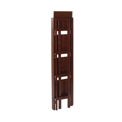 winsome wood folding bookcase winsome wood 4 tier folding shelf walnut finish 94852