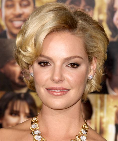 katherine heigl hairstyles katherine heigl short wavy formal hairstyle golden