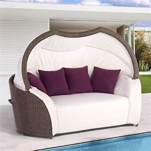 Lounge Sofa Outdoor : outdoor patio chaise lounge sofa chair with retractable canopy and cushion white ebay ~ Frokenaadalensverden.com Haus und Dekorationen