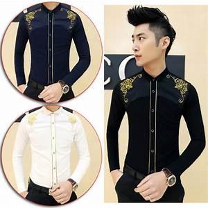 Cool Men Embroider Flower Pattern Button Down Dress Shirt ...