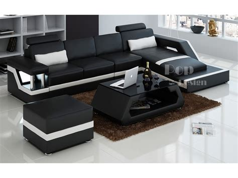 canapé lit design luxe canapé d 39 angle design en cuir véritable tosca pouf pop