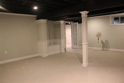 Basement Remodel With Painted Exposed Ceiling, Basement