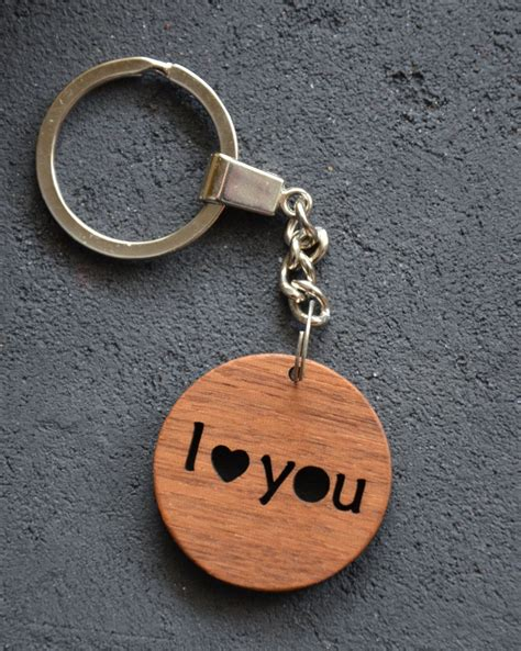 love  gift wooden key chain custom personalized