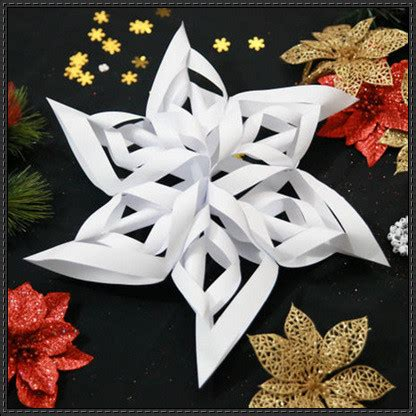 christmas how to make a 3d paper craft snowflake