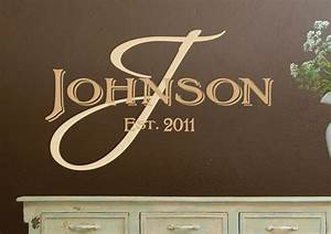 monogram wall decals personalized family name vinyl by With wall art custom lettering