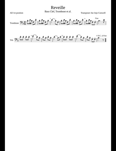 Trombone sheet music & digital downloads. Reveille Trombone JLC sheet music for Trombone download free in PDF or MIDI