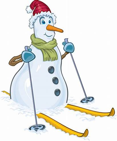 Snowman Winter Christmas Clipart Skiing Snow Hat
