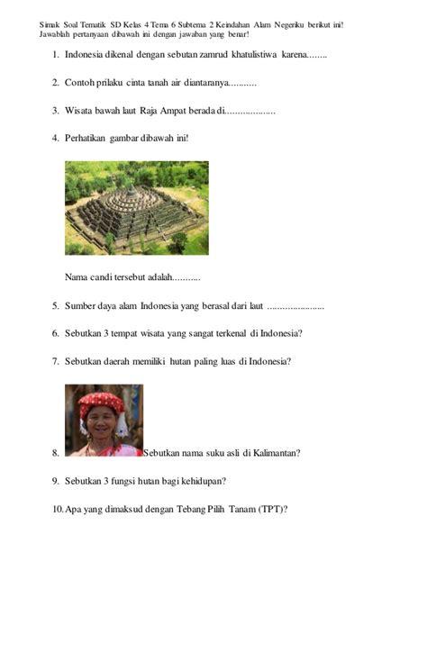berikut soal tematik kelas  sd tema  subtema