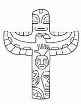 Totem Pole Coloring Printable Lezen Aboriginal sketch template