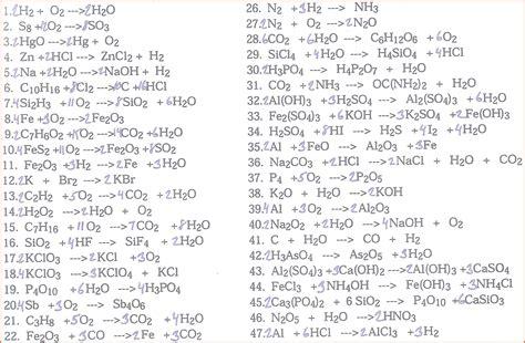 balancing chemical equations worksheet answers worksheets