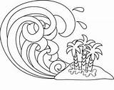 Tsunami Wave Coloring Waves Drawing Pages Line Clipart Ocean Clip Cartoon Paint Computerclipart Computer Sketch Drawings Getdrawings Flood 1005 1018 sketch template