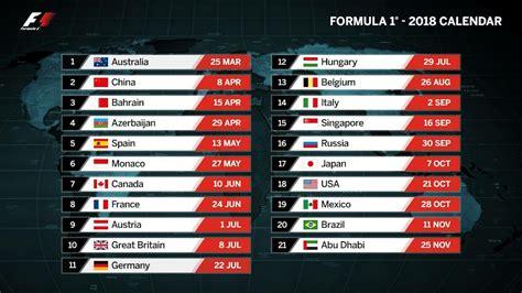 f1 2017 calendrier 2018 formula 1 grand prix race schedule f1 pride jets