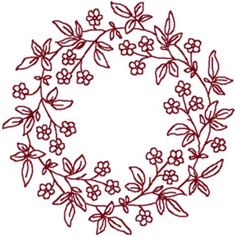 redwork forget   wreath embroidery design