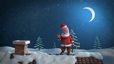 animated christmas card template santa stuck  chimney