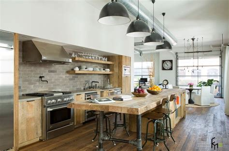 fabulous loft kitchen design  timber kitchen island