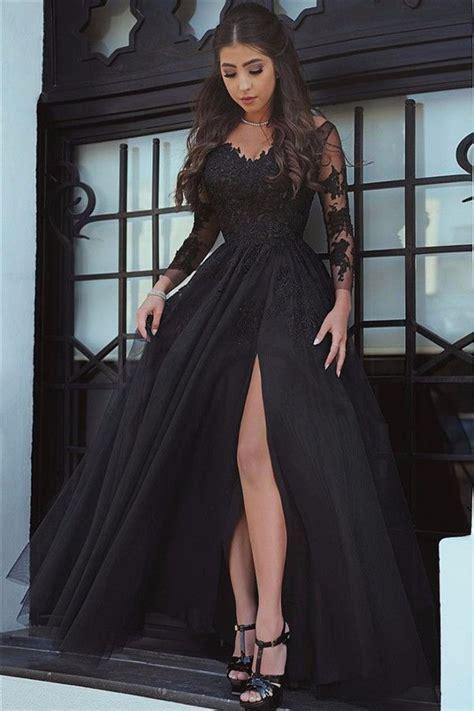 slit glamorous lace black long sleeve evening dresshigh