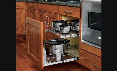 rangement cuisine coulissant panier coulissant en fil chromé pour armoires de