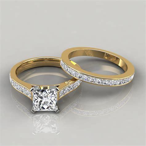 princess cathedral engagement ring and wedding band