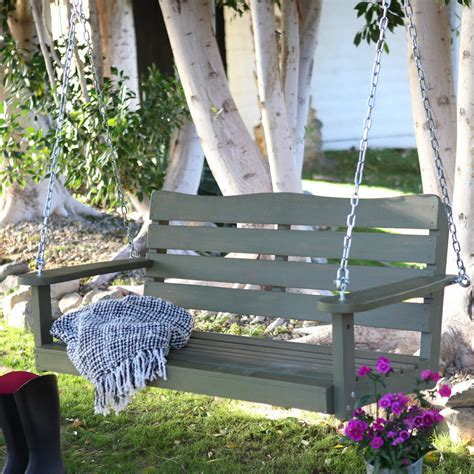 Cape Maye Weathered Porch Swing Sagebrush Green Porch