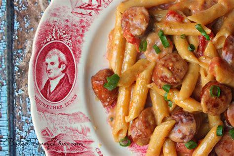 sauge cuisine one pan cheesy smoked sausage pasta recipe budget