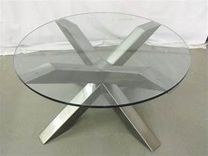 Round glass table topsround glass single base dining for Glass top circle coffee table