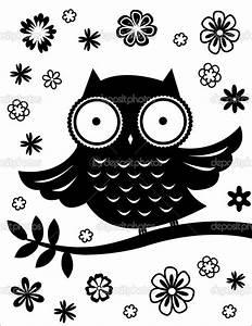 Cute owl, black and white — Stock Vector © Nadia_K # | DIY ...