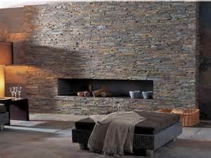 Stacked Stone Tile Fireplace Walls