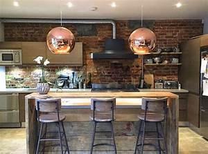 Cuisine industrielle 43 inspirations pour un style for Kitchen colors with white cabinets with papiers peints pas cher