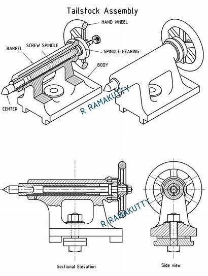 Drawing Lathe Machine Tailstock