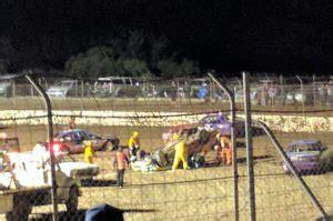 warracknabeal race driver  massive hit blue ribbon raceway