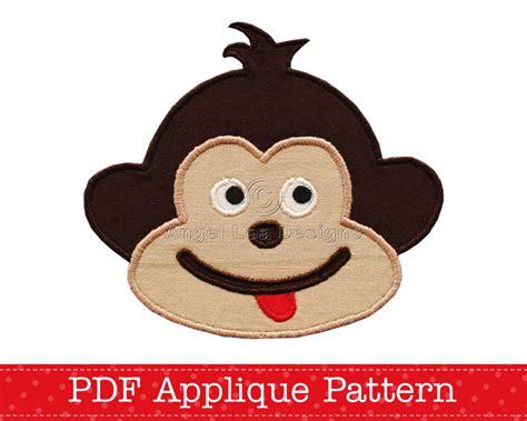 monkey applique cheeky monkey applique template animal diy pdf pattern by