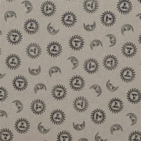 toile coton effet imprim 233 e lune et soleil noirs tissus price