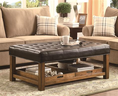 decor living room design with leather ottoman coffee