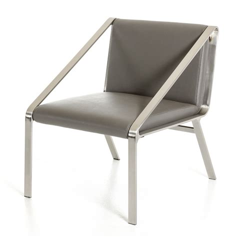modrest brody modern grey bonded leather accent chair